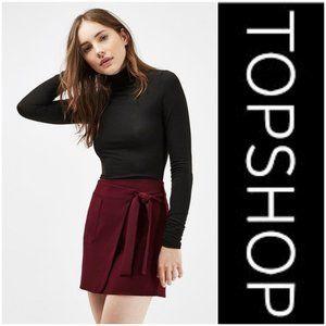 TOPSHOP Utility Wrap Skirt Burgundy